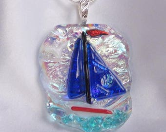 BLUE REGATTA blue sailboat dichroic fused glass jewelry pendant necklace