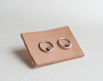 NEW Simple Everyday Earstuds - BRI - White Topaz Earrings, Bridesmaids Gift, Gifts for Her