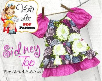 Sidney Peasant Top Pattern. Girls Top Pattern. Girls Sewing Pattern. Girls Peasant Top Pattern. Toddler Peasant Top, pdf Sewing Pattern