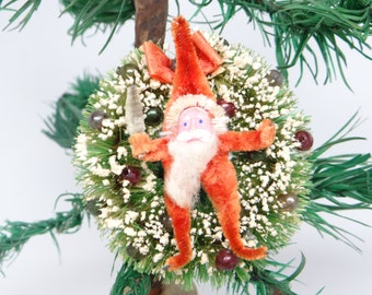 1940's Bottle Brush Wreath Ornament with Chenille Santa, Mercury Glass Beads, Vintage Christmas