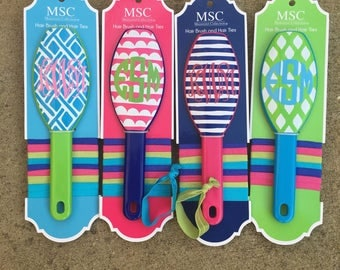 Last One!! Personalized Monogram Hairbrush and Hair Tie Set