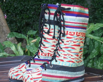 Womens Combat Boots, Ethnic Laos Embroidered Mid Calf Lace Up Vegan Boho Boot 7.5 Britta FREE Shipping