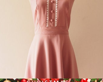 Christmas SALE VIENNA - Midi Dress, Dusky Pink Bridesmaid Dress, Pink Tea Dress, Nude Pink Party Dress Vintage Inspired Dress, Swing Dres...