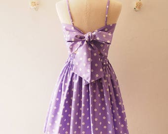 Crop Top and Skirt Set Purple with White Polka Dot Summer Matching Crop Top and skirt Set -S-M (US4-US6)