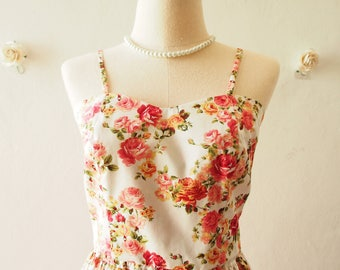 Crop Top and Skirt Set Kawaii Rose White Floral Crop Summer Fashion Special Occasion Backless Self-Tied Bow Vintage Style -S-M (US4-US6)