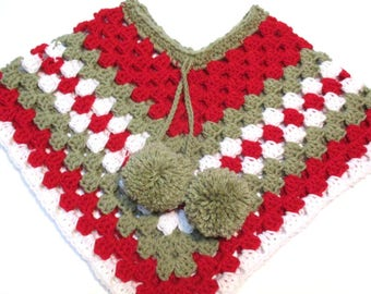 Sock Monkey inspired crochet toddler poncho.  Ready to ship granny square style baby poncho.  Spring poncho sweater.  Poncho with pom poms.