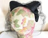 Vintage Fascinator Bow Hat Veiled Woven Black 1940s 1950s