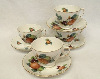Royal Vale Teacups and Saucers, Pattern Number 8225, Ridgeway Potteries, 4 Sets