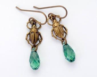 Soft Green Swarovski Crystal Earrings, Light Green Earrings Bug, Green Scarab Earrings Insect, Scarab Jewelry, Swarovski Earrings, Fayruz