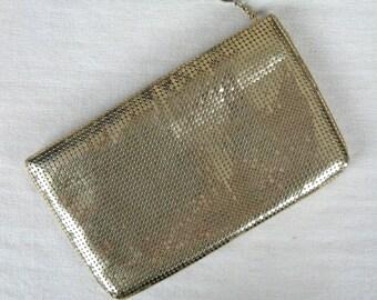 Vintage 1970s Gold Mesh Clutch 70s Whiting & Davis Evening Bag or Wallet