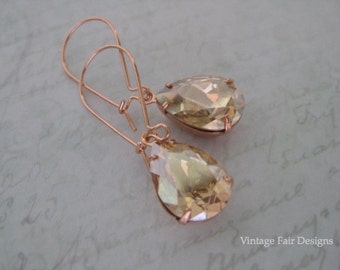 Champagne Crystal Rose Gold Pear Earrings-Modern Styled Earrings-Victorian Styled drops Created with Golden Shadow crystals from Swarovski®