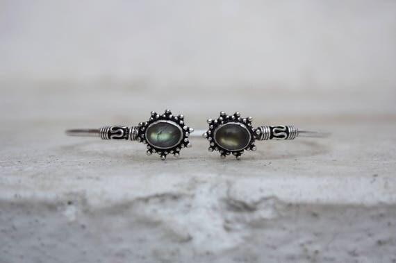LABRADORITE MIDI CUFF -Silver Bracelet- Healing Crystal Jewellery- Chakra- Statement bracelet- Boho- Vintage jewellery- Tibetan