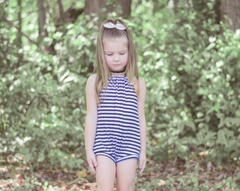 NEW!! Black White Stripe Baby Romper, Girls Romper, Halter, Halter Top Romper, Floral Romper, Floral Printed, Toddler Fashion