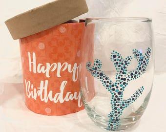Handpainted Coral Wine Glass - Beach Wedding Blue Branch Dot Art Stemless Wedding Gifts for Her Nautical Kitchen Decor Chic - TheSandbar