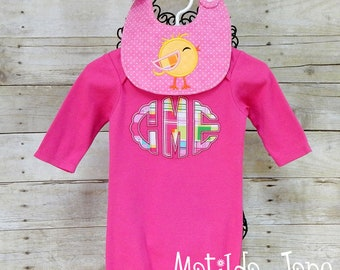 Baby GIRL Personalized Hot Pink Gown, Beanie Hat,Applique Monogram Gown, Personalized Beanie Hat, Baby Coming Home Gift,Shower Gift Babies