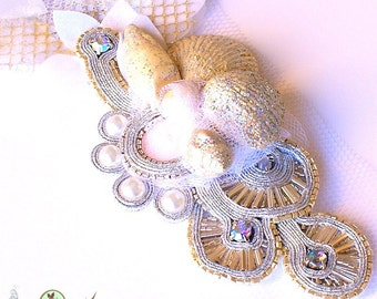 Statement Bridal Headpiece- Bridal Sash- Platinum -Art to wear- Vintage Grey Tones - Soutache Jewelry - One-of-a-kind Hand Beaded - Glamour