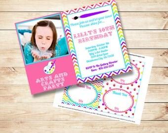 Art Party Invitation - Rainbow Birthday Invitation - PRINTABLE Photo Invitation - Craft Party - Thank You Card