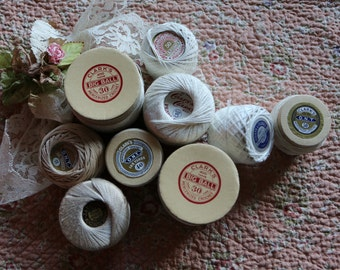 Crochet Thread Crochet Supplies Knitting Thread Tatting Thread String Vintage Natural Colors Lot of 9 Various Small