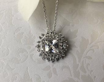 Princess Cut Wedding Necklace Pendant, AAA Cubic Zirconia Stones, Bridesmaid Gifts, Bridal Jewelry