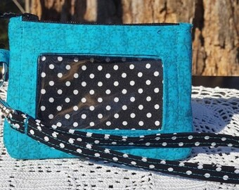ID Wallet, Keychain Wallet, ID Holder, Zip ID Wallet, Optional Wrist Strap, Blue, Black and White Polka Dots