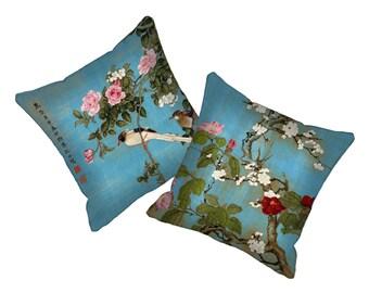 Pillow Cover Set Decorative Throw Pillow Covers 18 x 18 inch Boho Pillow Japanese Floral  Bird Asian Cushion Art Pillow Bohemian Blue Pink