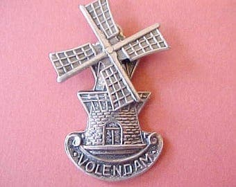 "Handsome Vintage Dutch Windmill Pendant with Turning Blade-""Volendam"""