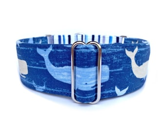 Nantucket Blue Whales Dog Collar - Nautical Whales and Blue Stripes Martingale Collar or Buckle Dog Collar, Nautical Dog Collar