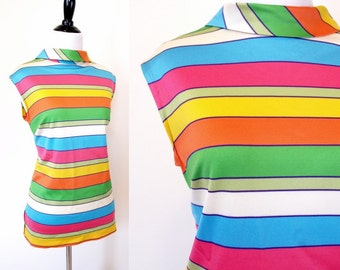 Vintage 60s colorful rainbow striped sleeveless mod tank top size M