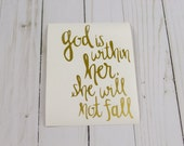 God is within her She will not fall Vinyl Decal Bible Journaling Notebook Stationery