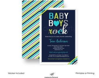 Boys Rock Shower Invitations Colorful -- Mod Baby Sprinkle -- Party Invite -- Custom Color -- Unique -- Paper Goods -- Printable or Printing