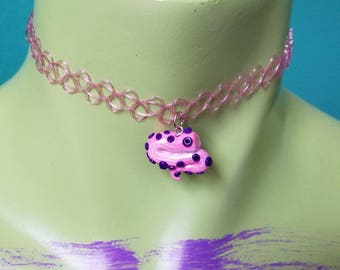 Pink and purple tentacle choker