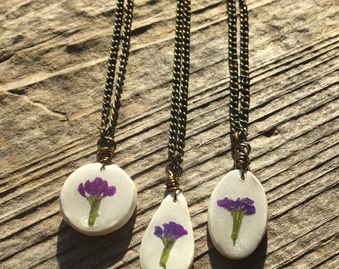 Set of 3 Real Mexican Heather Purple Flower Necklace Jewelry