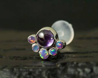 Purple opal and Amethyst CZ cabachon cluster push in 16g bio flexible tragus / cartilage / conch piercing