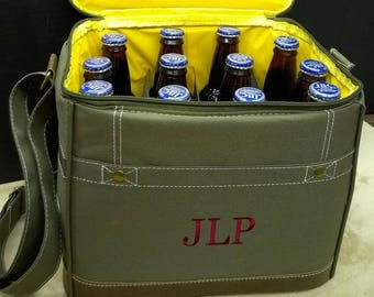 Set of 6 Personalized Cooler - Insulated Cooler - Bottle Cooler - Cooler Bags - Monogrammed - Wedding - Groomsmen Gifts