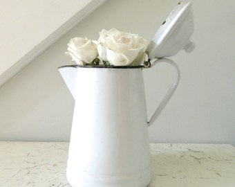 Vintage White Enamel Coffee Pot Farmhouse Kitchen
