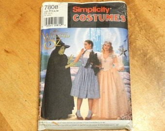 Uncut Simplicity 7808 Misses Wizard of Oz Glenda-Wicked Witch-Dorothy Dress Gown Hat Crown Costume Sewing Pattern Size 6-8-10