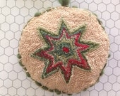 Primitive Punch needle Star ornament