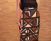 Maxi Bogolan skirt, mud cloth skirt, african print skirt