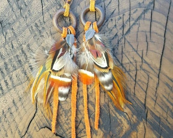 Funky Wooden Fringe Feather Earrings