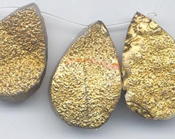 Three sparkling gold-flashed druzy/drusy chalcedony pendants - matched for shade and shininess of the gold
