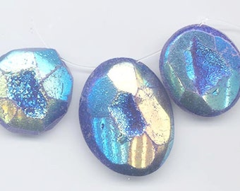Three dazzling titanium-flashed druzy/drusy chalcedony pendants - cobalt blue and gold