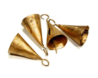 SUPPLY: 2 Hand Forged Gold Iron Bells - Rustic Bells - SKU 8-A5-00006227