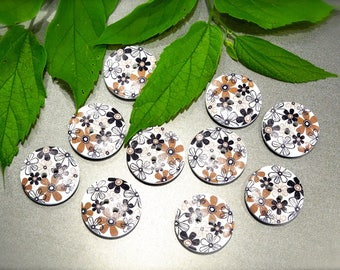 SUPPLY: 25 LARGE Novelty Floral Wood Buttons - One Side - Flat Round - Natural Wood Buttons - SKU 17-B2-00008163