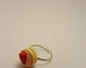 SALE - Strawberry Cake Ring - Handmade Polymer Clay