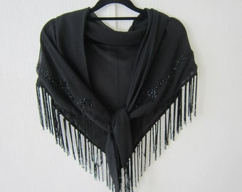 Black Crepe Sheer Wrap Decorated with Floral Design Black Beads and Fringe