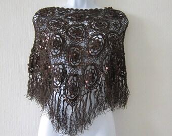 Crochet Brown Sequin Poncho