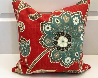 red grey blue and ivory floral pillow covers in ankara designer fabric