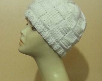 Crocheted Beanie Hat - Basket Weave Beanie Hat - Crochet Skullcap Beanie - White Beanie Hat  - Winter Hat - FREE UK DELIVERY