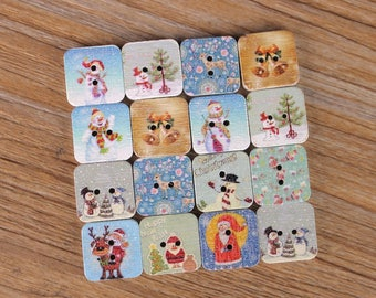 "30 PC Painted wood buttons 20mm - Wooden Buttons ,buttons, natural wood buttons ""square"" A117"