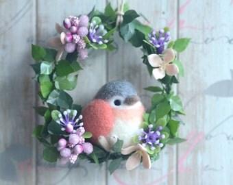 Bird doll flower wreath, bird doll home decor ornament, needle felted red grey bird wreath, handmade gift under 25